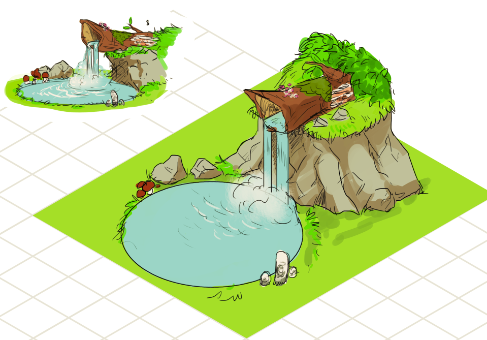 Concept   Getting down with the final design for the waterfall