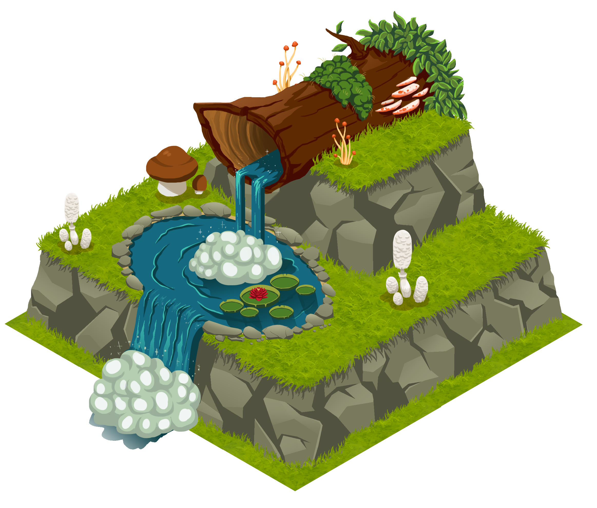 Finished asset   Waterfall with mushrooms