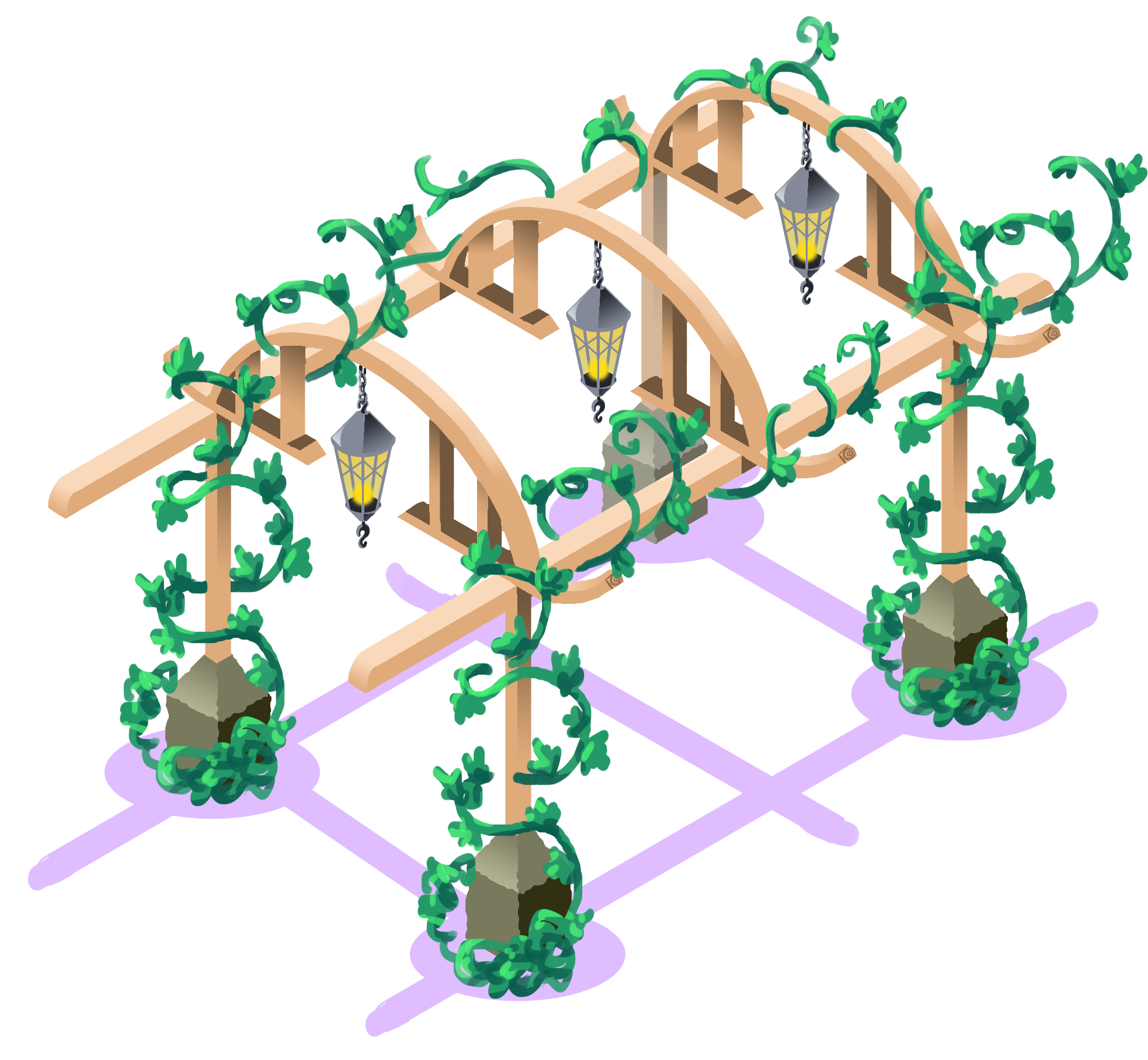 Finished asset   A cozy pergola to fika under in-game