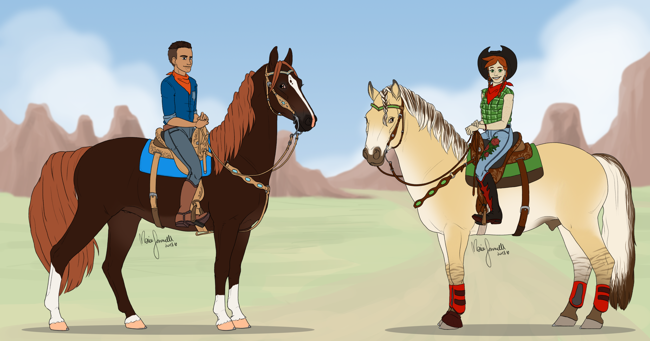 Final concept   Joshua with his morgan horse Firefly and Stella with her fjord horse Dingo