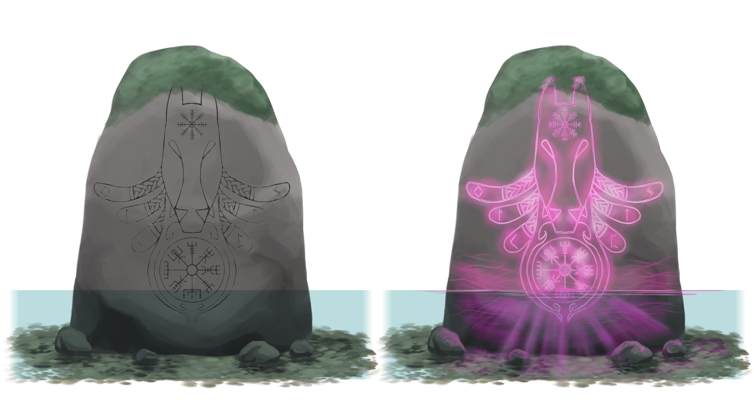 Final concept   The magical stones without and with magic