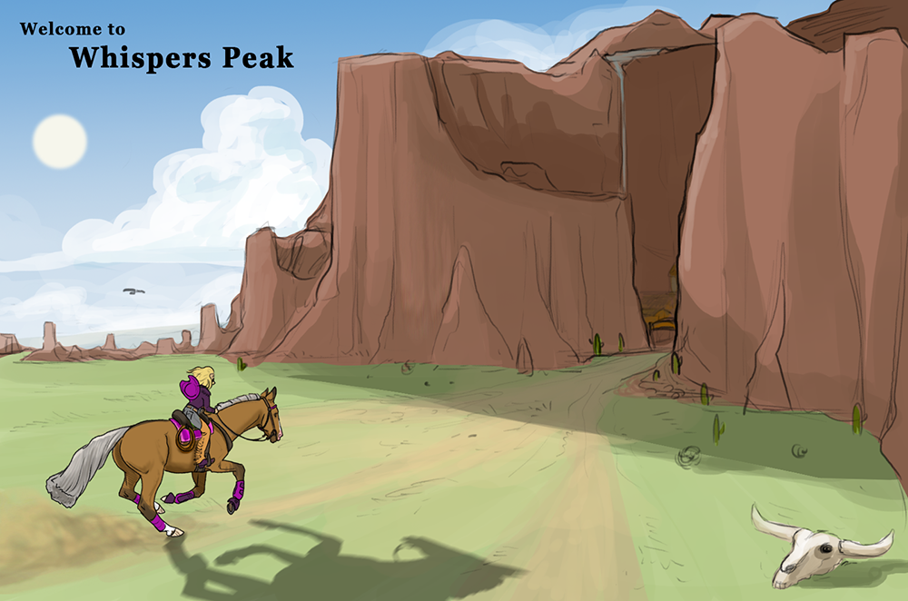 Early concept   A quick illustration, a girl and her horse heading for Whispers Peak
