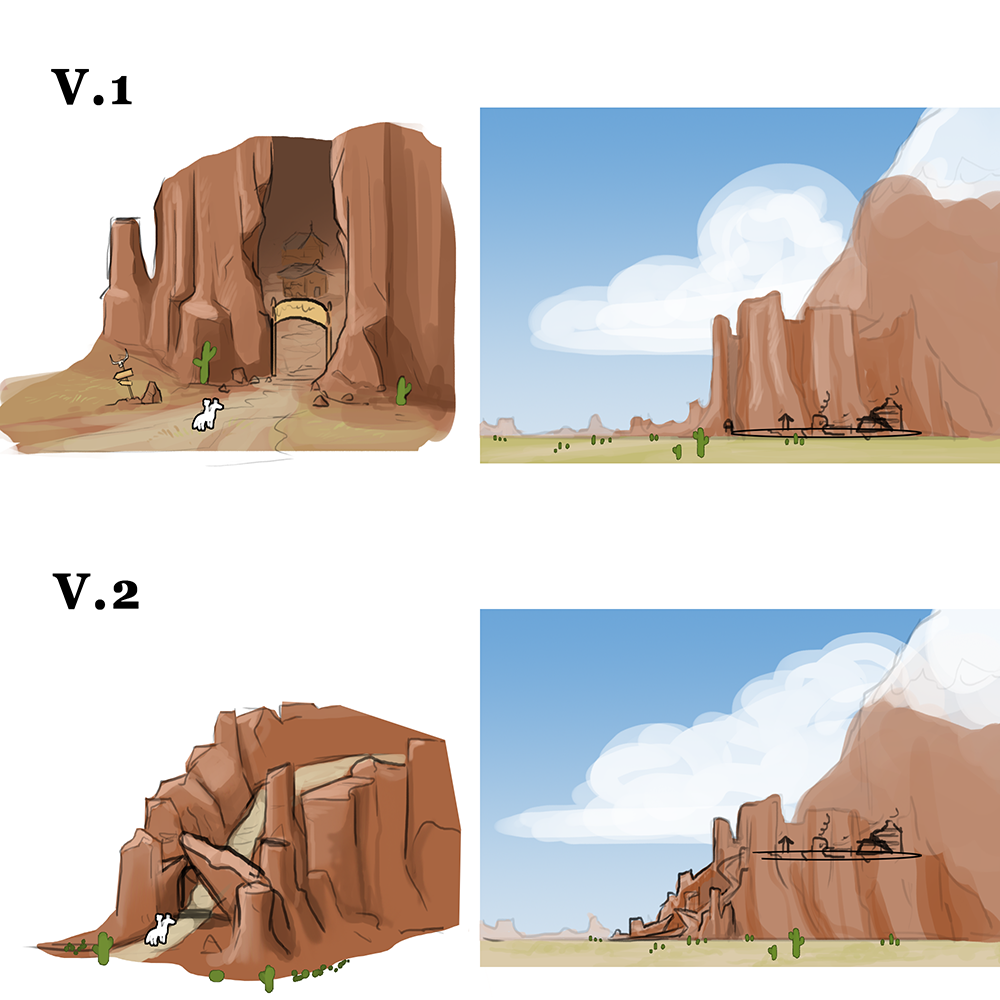 Early concept   Experimenting with different types of entries to the village
