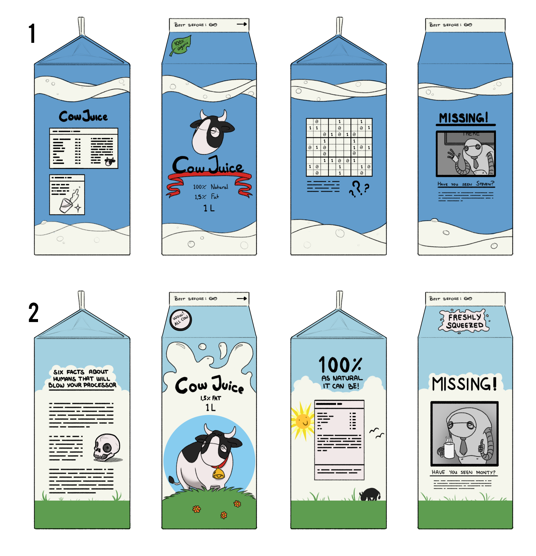 "Food packaging concept of a ""milk"" carton"