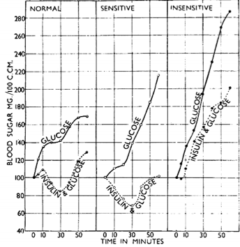 Figure 3.   Dr. Sir Harold Himsworth's   1936  discovery of different types of insulin metabolism in young vs old diabetes. Figure 3 from (Himsworth, 1940)