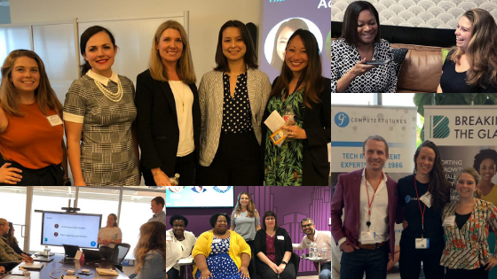 Top Left - Power of No at Anaconda  Top Right - Inclusion Webinar for Women in Cable Technology Rocky Mountain  Bottom Left - Unconscious Bias Webinar at Anaconda  Bottom Center - Reluctant Champions Panel at Retail Me Not  Bottom Right - Women in Cable Technology: Spirit of the Midwest in St. Louis