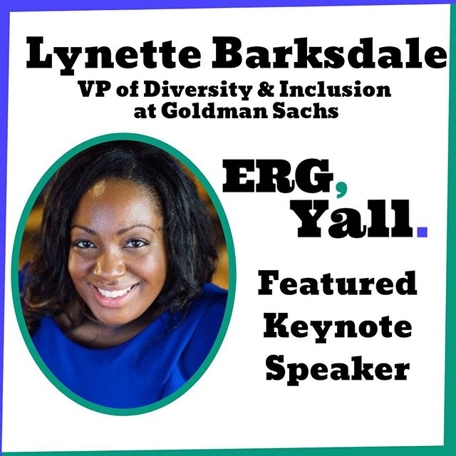 Lynette Barksdale will be joining us as our afternoon keynote at ERG Y'ALL. As the VP of Diversity & Inclusion for Goldman Sachs she will share her perspective on the importance of ERGs and their value to leadership. Don't miss this amazing opportunity to hear from this amazingly talent leader and speaker. Be sure to register today: http://bit.ly/2lPJOpA  #womenintech #diversityintech #inclusiveworkplace