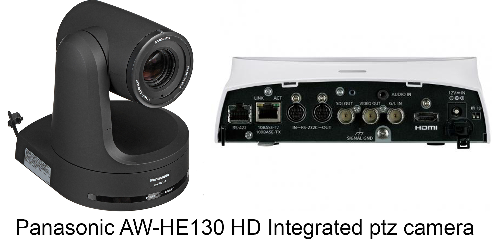 """Panasonic AW-HE130K Overview   The  Panasonic AW-HE130 HD Integrated PTZ Camera , in white, is capable of transmitting up to four channels over IP and at the same time a single channel over SDI or HDMI. IP channel 1 supports up to 1080p60 H.264 transmission, IP channel 2 up to 1080p30, and IP channels 3 and 4 up to 720p30. The SDI and HDMI outputs support up to 1080p60. In a multicast setup, the four IP channels can be sent simultaneously to a total of up to 14 devices (including one Android device).  The AW-HE130 features a high-sensitivity, low-noise 1/2.86"""" 3MOS sensor, an advanced digital signal processor (that's used in Panasonic broadcast camcorders such as the AJ-PX270), and a motorized 20x zoom lens. It's designed to capture high-image quality even in low-light conditions in sports, news, corporate, and other professional applications. The camera also offers Power-over-Ethernet+ (PoE+), which delivers more power than standard PoE and also allows for quicker and less expensive installation. Other features include 12-axis color correction, built-in neutral density filters, and optical image stabilization.    4-Channel IP Transmission The AW-HE130 is capable of transmitting 4 channels of video over IP plus over a 3G-SDI or HDMI output at the same time. IP channel 1 and the 3G-SDI/HDMI outputs deliver up to 1080p60 video, IP channel 2 up to 1080p30, and IP channels 3 and 4 up to 720p30.  1/2.86"""" 3MOS Sensor Equipped with three advanced 1/2.86"""" Full HD MOS sensors and DSP (Digital Signal Processor), the AW-HE130 achieves high sensitivity, a high S/N ratio, and high resolution through the use of advanced video processing.  Optical Image Stabilizer and Digital Extender Optical Image Stabilization System (OIS) automatically minimizes the effect of small vibrations from the surface where the camera is mounted, whether this is caused by the opening and closing of doors, nearby speakers, or other disturbances. A high performance 20x zoom lens with 1.4x digital extender"""