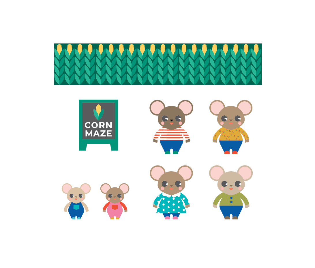 Mouse Corn Maze 3D Playset Printable