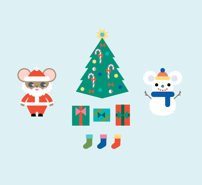 Mouse House Christmas 3D Playset Printable