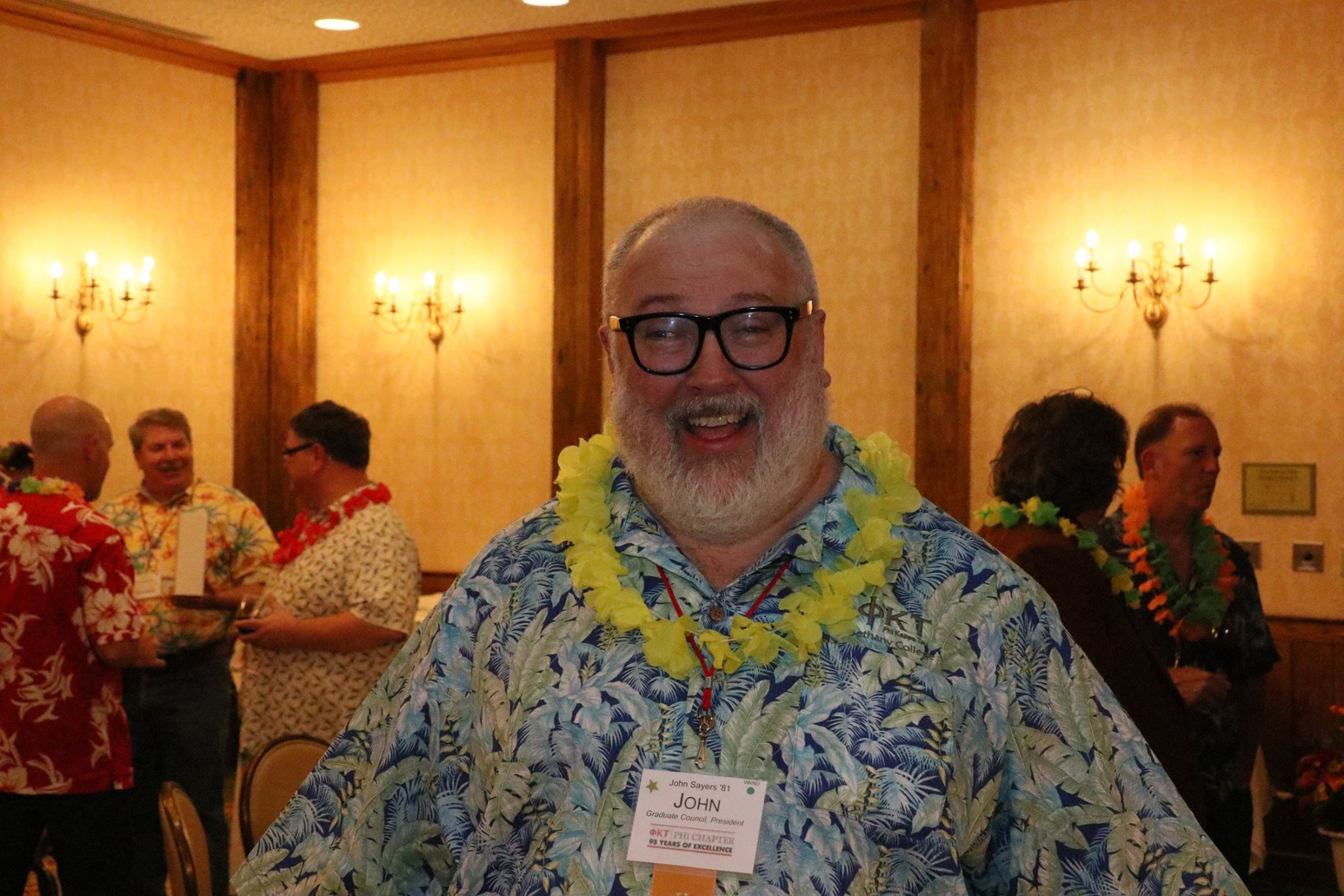 John Sayers,  Bethany '78 , at the luau party