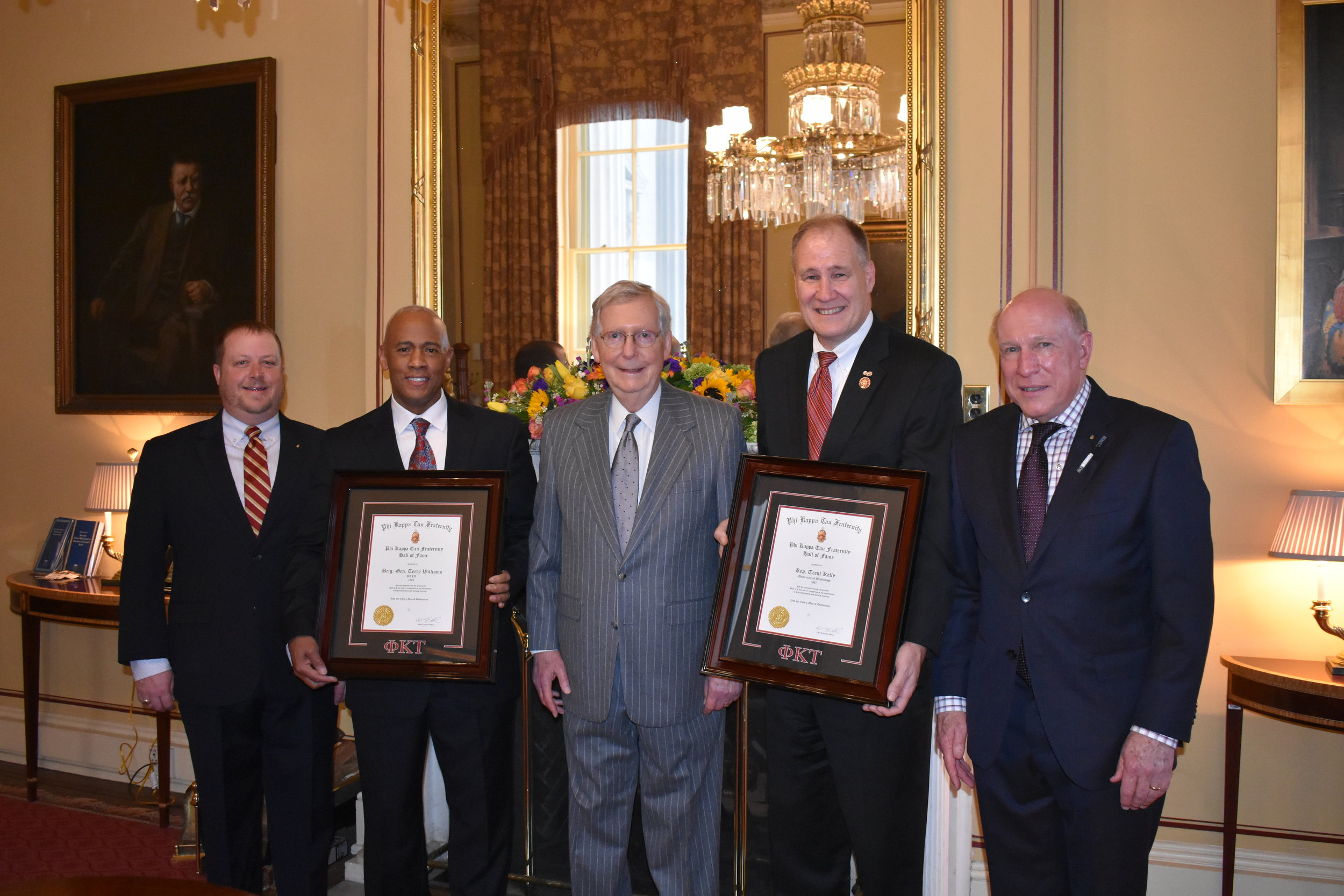From left to right: CEO Tim Hudson, General Terry Williams, Leader Mitch McConnell, Representative Trent Kelly, and National President Bill Brasch