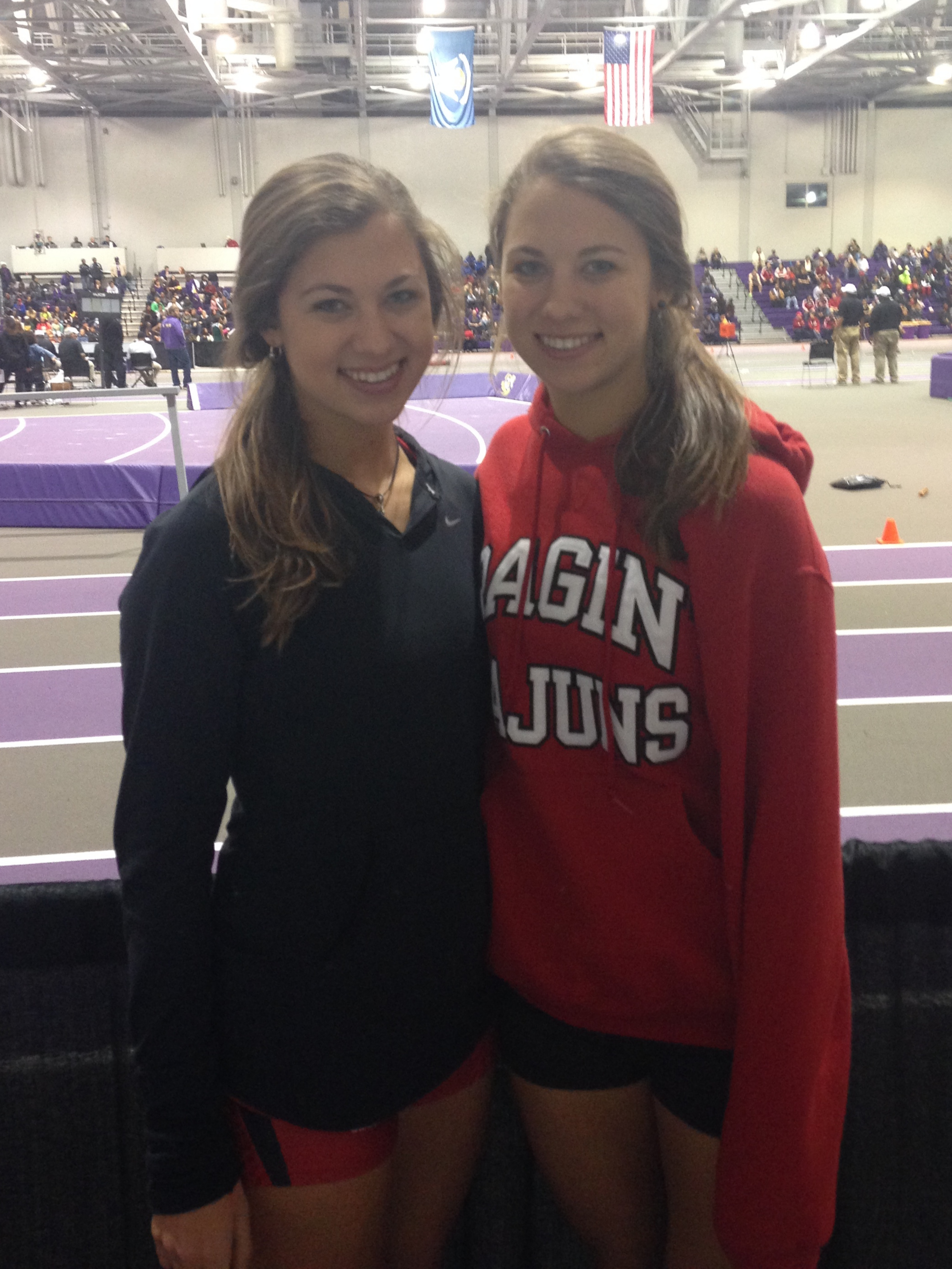 The two of us competing as Ragin Cajuns at a track meet