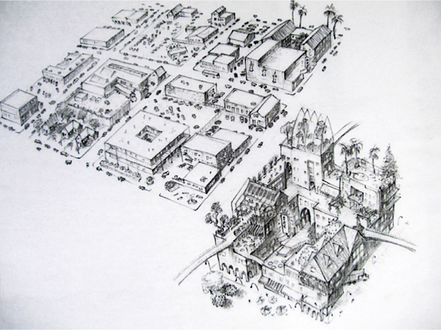 Top and bottom, urban densification - saving land, energy and time (drawings by Richard Register)