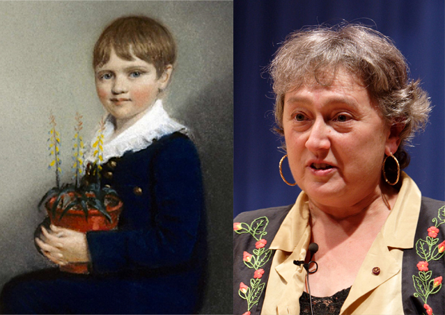 Evolutionists: Charles Darwin with flowers, and Lynn Margulis with endosymbiosis (Photo @ right: By Jpedreira - Self-published work by Jpedreira, CC BY-SA 2.5,https://commons.wikimedia.org/w/index.php?curid=407368)
