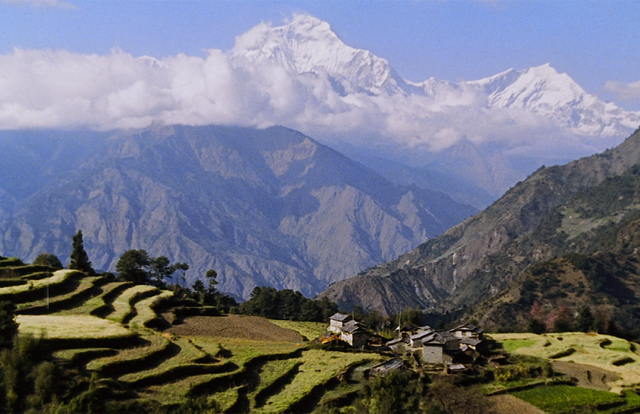 Small compact village in Nepal, with Mt. Dhaulagiri