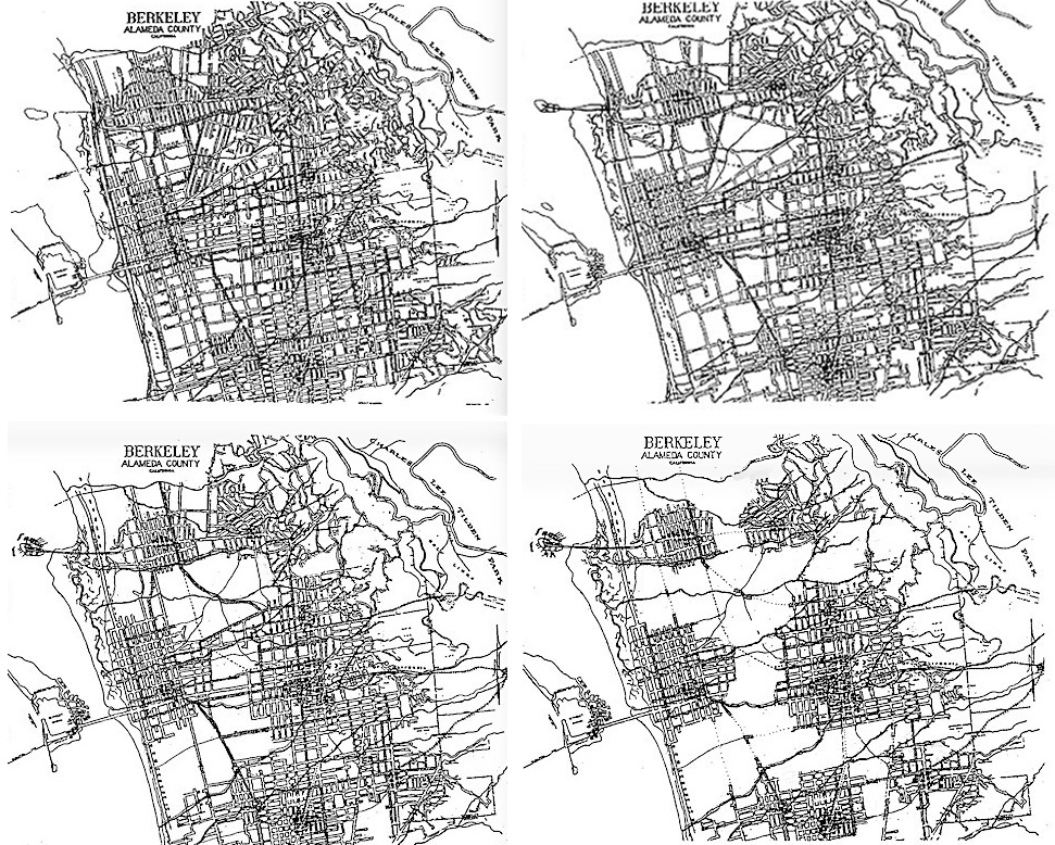 Changing landscape of Berkeley over time, growing out of the previous diagram. The upper left illustrates withdrawal from the lowest density development about 25 years after significant change begins, with 20-50 years between each subsequent map. The resulting condition is a cluster of differently-scaled centers with different characters, surrounded by natural and agricultural corridors allowing for continuity of plant and animal habitat and incorporating restored creeks and other waterways . Major streets connecting these centers could tunnel under or bridge over portions of these corridors.