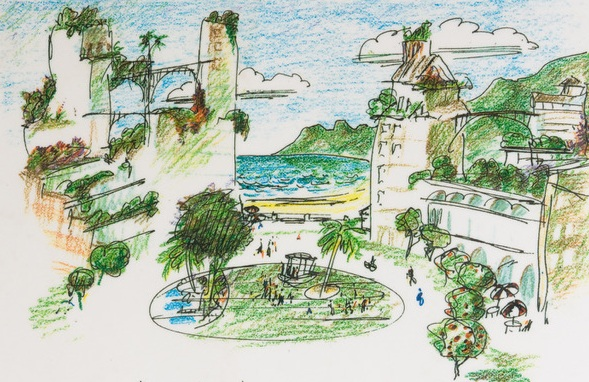 """""""Keyhole"""" or """"view"""" plaza (drawing by Richard Register)"""