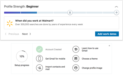 LinkedIn provides encouragement throughout the user onboarding process