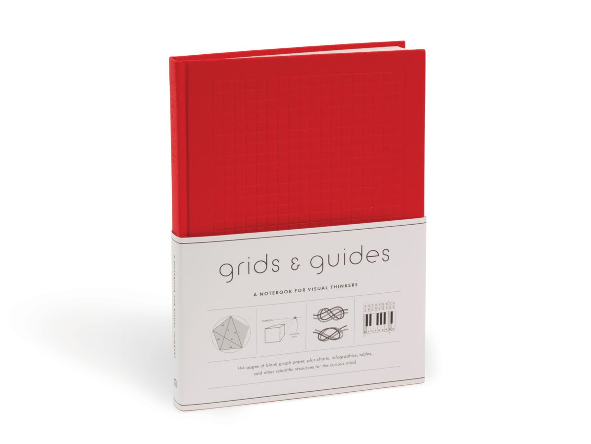 Princeton Architectural Grids & Guides Notebook - With a red cloth hardcover, thick paper and 144 pages printed with variable grid patterns to provide some structure while fueling creativity.