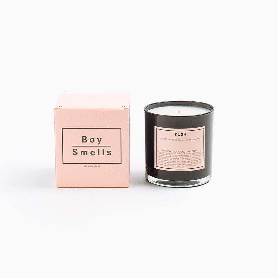 """Boy Smells Candle - The new status candle?The brand was '""""conceived beyond the gender binary"""" and is run out of the couple's Los Angeles home. My favorite scents are Kush, Cinderose and Ash."""