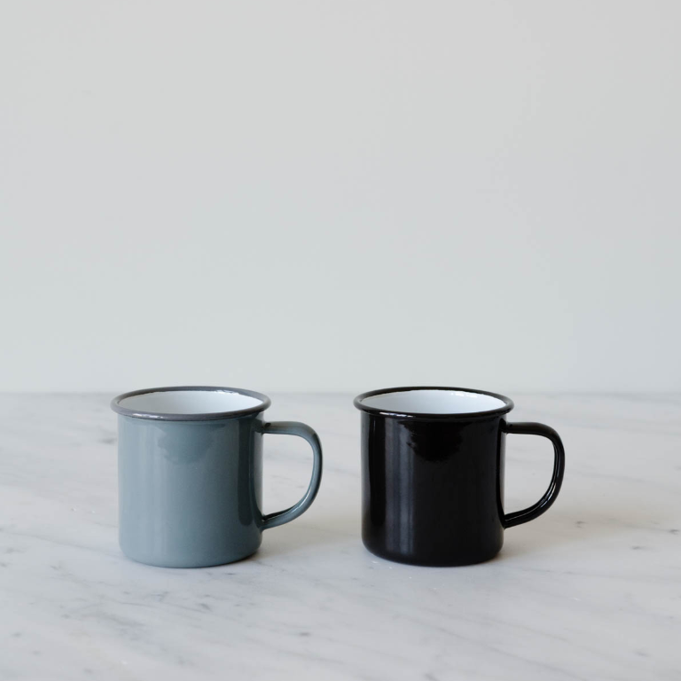 Falcon Mugs - Feel like you're camping every day with these enamelware mugs in subtle shades. I like to eat ice cream out of mine.