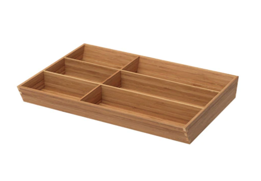 Variera Flatware Tray - An affordable, non-plastic, bamboo option for all your flatware and kitchen gadget organizing needs. It also comes in a few other shapes.