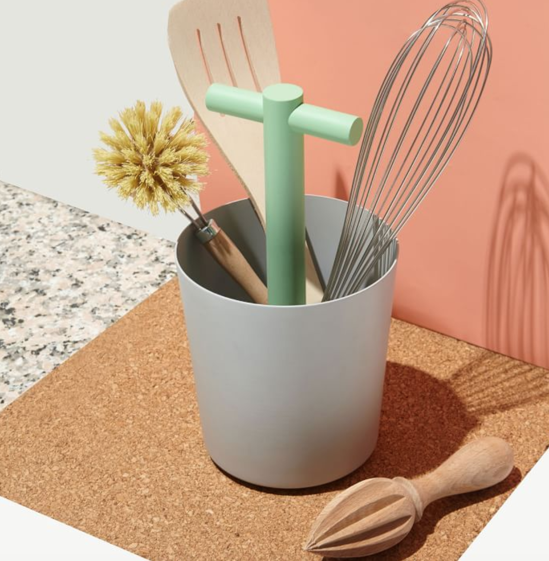 Good Thing General Series Storage - This cheery storage vessel comes in bowl, bucket, and tray form with a clever handle. I could see the bucket holding utensils and the bowl and tray for onions or fruit on the counter.