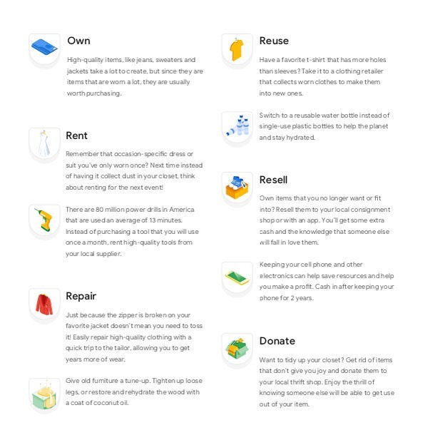 Have you taken a look at Google's interactive tool Your Plan, Your Planet? It has some good tips on how to reduce your footprint. I learned that I've been storing  basil incorrectly for my whole life. It lasts longest when kept out on the counter in water like a bouquet of flowers. Who knew? 🌿 🌎