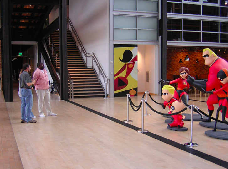 Catmull giving a tour through the Pixar lobby, 2005