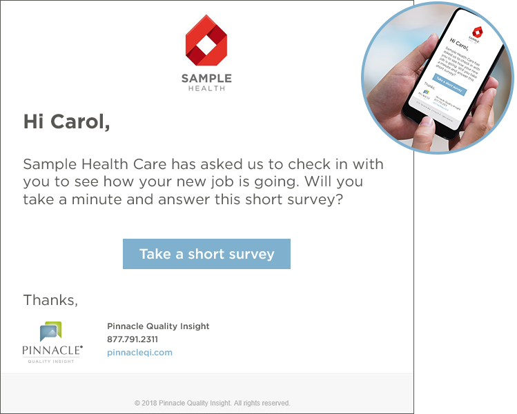 Carol submits a survey - Carol is a new employee who has just finished her 30-day employee survey.