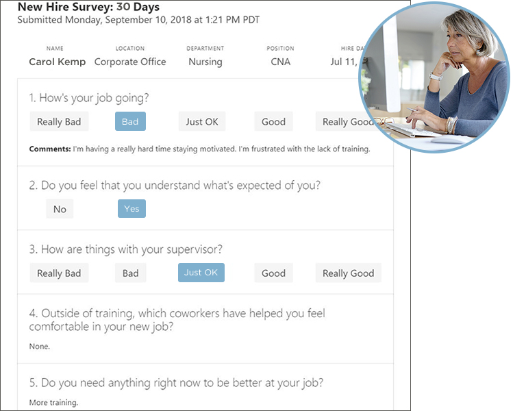 Janice reads Carol's survey, Carol is unhappy - In Carol's new hire survey, she says her training was confusing and now she feels discouraged.