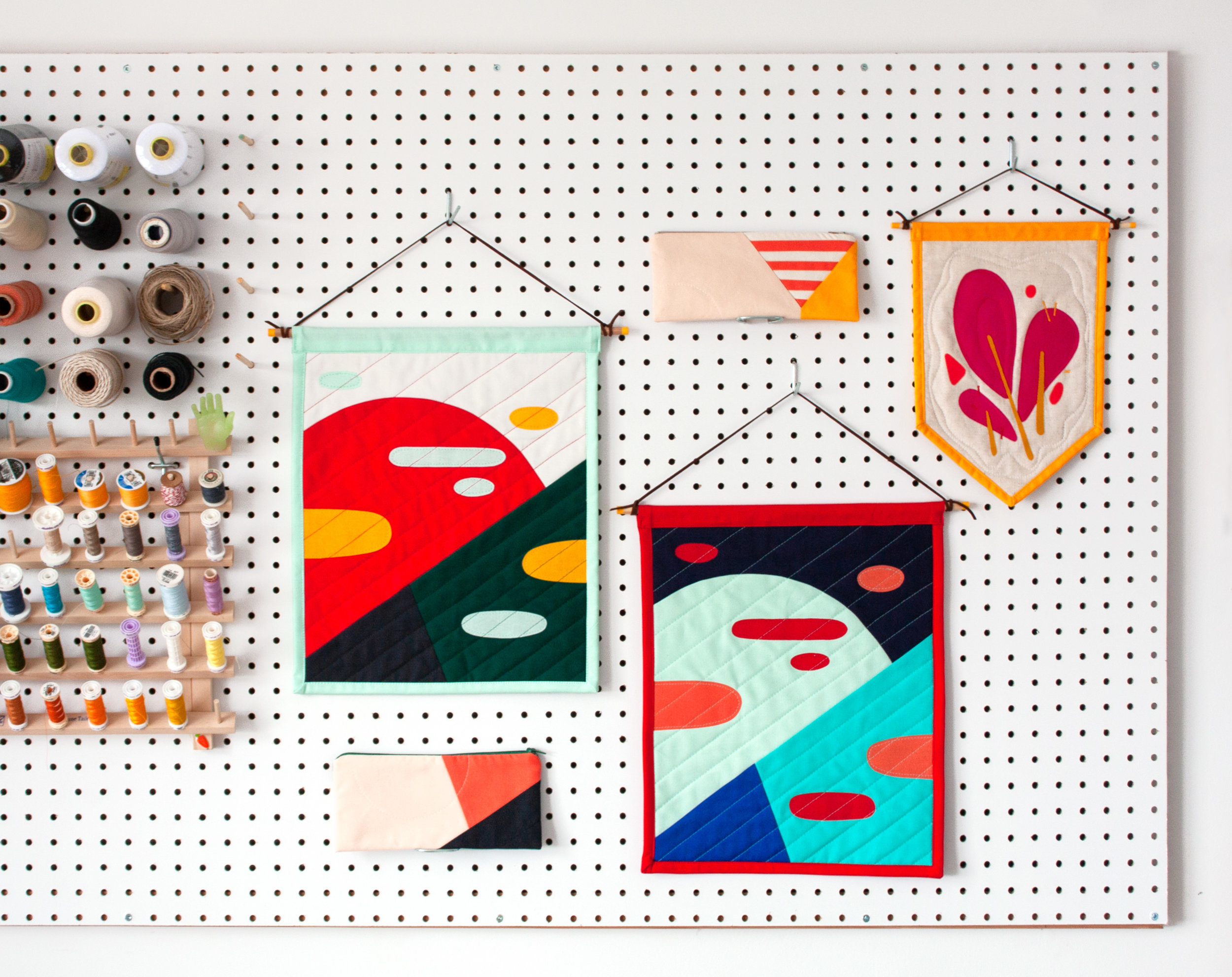 FRIENDLY DESIGNS FOR THE HOME + HAND -  Intersecting illustration with textile craft, each object aims to tell a story with bold colours and abstracted, yet familiar shapes.