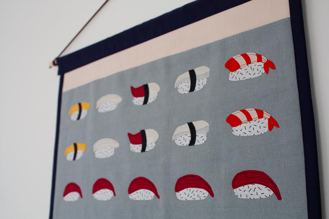 Nigiri Quilted Wall Hanging Detail