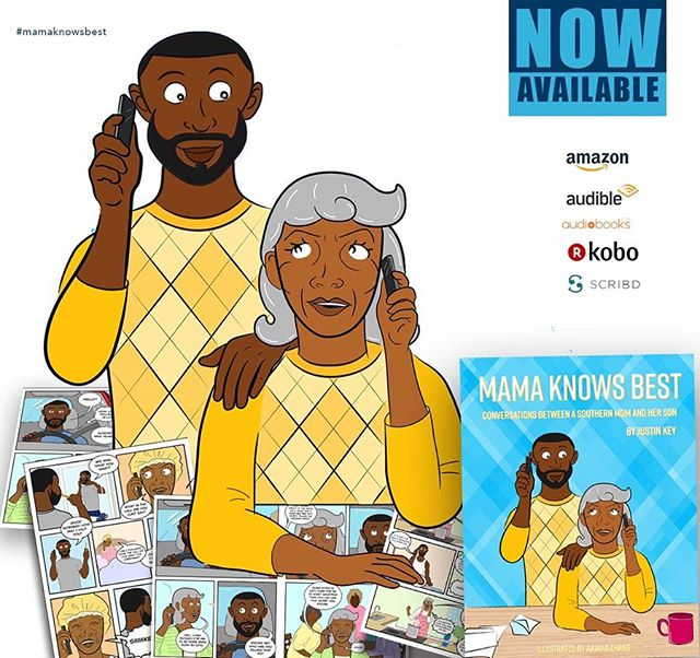 @mamaknowsbest.tv, a comedic audiobook series based on the conversations between a southern mom and her son, voiced by Debra Wilson and yours truly, is OFFICIALLY available for download!  And IT'S MY BIRTHDAY! So proud to share this project. When you download the audiobook, the digital comic book also downloads with it. • •  Thank you to everyone who had a hand in this project from all my Facebook cousins encouraging me to make it, my mama for not killing me for making it, the executive producer @instalessks and his check book who believed in it and me, the illustrator @arianatzhang to Debra Wilson, who lent her iconic voice to the character of my mama! Link in bio. • •  #MamaKnowsBest #JustinKey #DebraWilson #JustAKeesProductions #Rossville #Memphis #LosAngeles #Audiobook #ComedicRelief #SouthernHospitality #August6 #ActorsLife #ContentCreator #BlackCreative #Leo #LeoGang #BlackBoyJoy