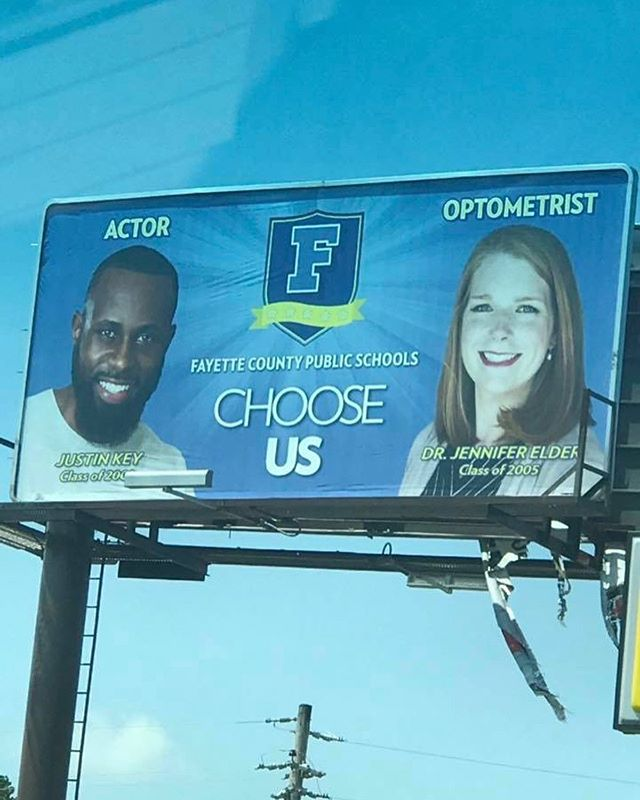 Apparently there are billboards around TN of some guy claiming to be an actor! 😂 Thank you @fayetteschools  for always supporting me and giving me a platform to give back to the school district. My hope is that every student that walks through the doors have even more opportunities than I had myself.  #ChooseUs #FayetteCountyPublicSchools #JustinKey