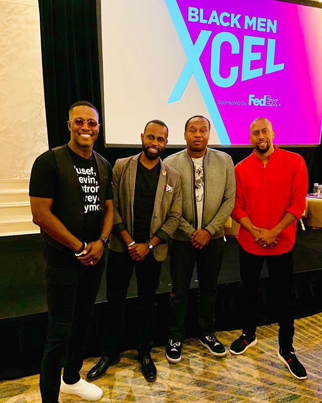 """@blackenterprise presented """"The Resurgence of Conscious Black Men in Entertainment"""" at the #BMXCEL summit with me, @flexaforeal and @roywoodjr. @affioncrockett became an added bonus while sitting front row staring at the mic. Lol. Also, check out the before after pics with Flex and Affion. Hollywood has a way of bringing people back together. This panel was AMAZING!!! Thank you, @alfrededmondjr, for the opportunity to speak and moderate. -  #JustinKey #FlexAlexander #RoyWoodJr #AffionCrockett #BlackEnterprise #BEModernMan #BlackExcellence #Hollywood #ForTheCulture"""