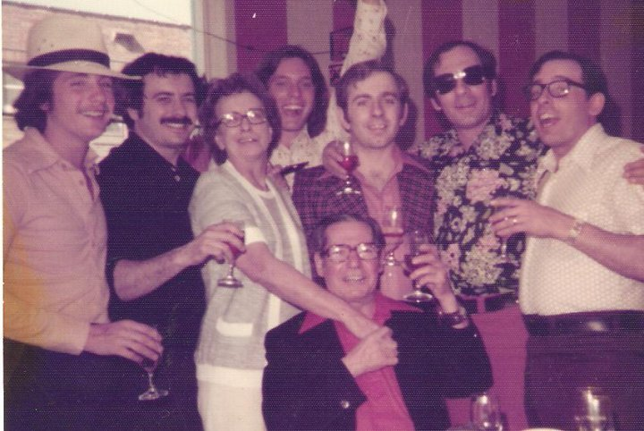 Jim and Eva with sons, Mark, David, (friend), Jim, Chick and Gary. April 1976