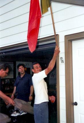 2003 - Reggie puts up the flag