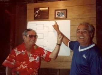 1982 - Grandpa & Uncle Fred bantering at scoreboard
