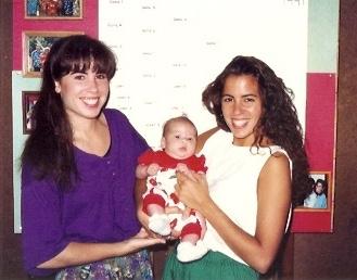 1991 - Aunties Steph & Katie with Elena