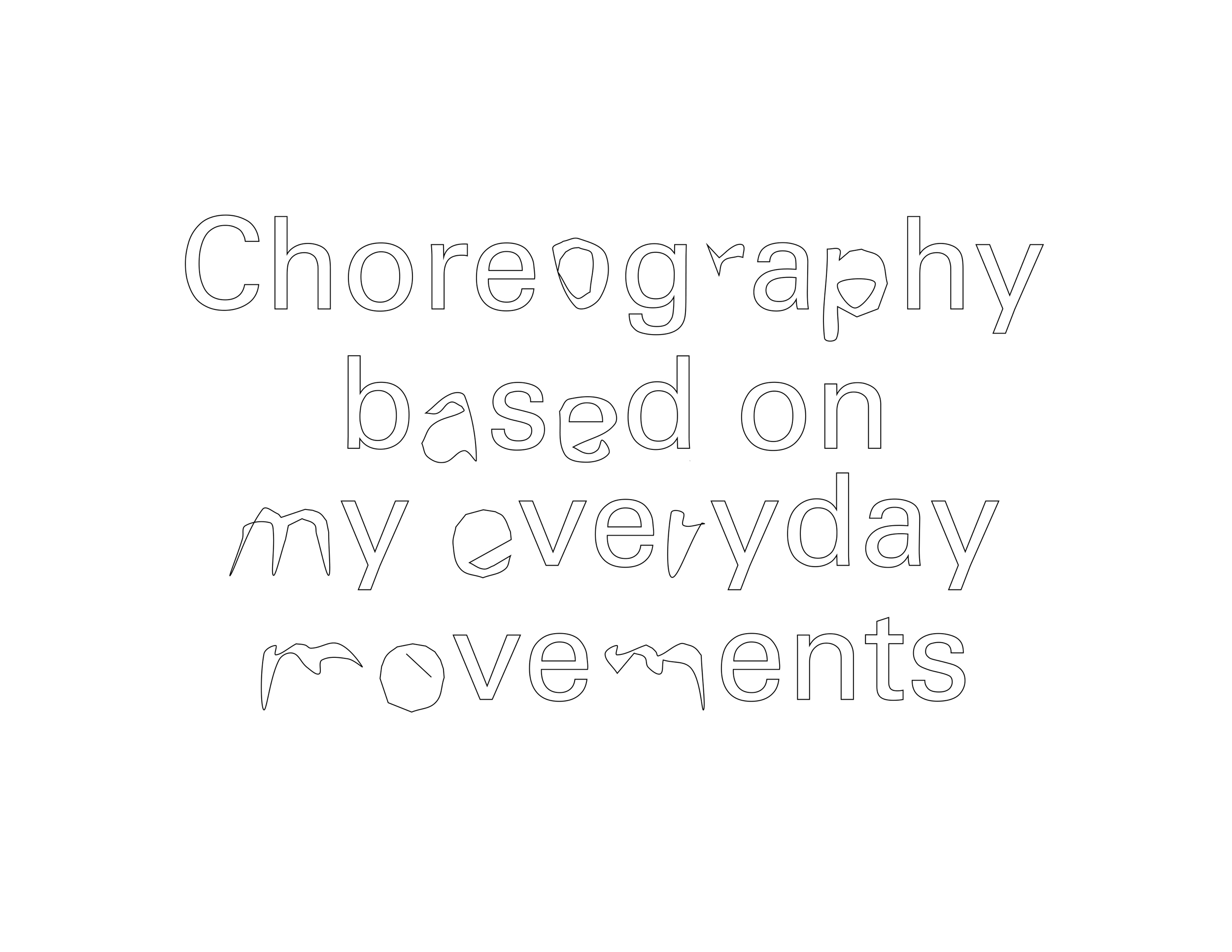 "Slightly distorted text that reads, ""Choreography based on my everyday movements."""
