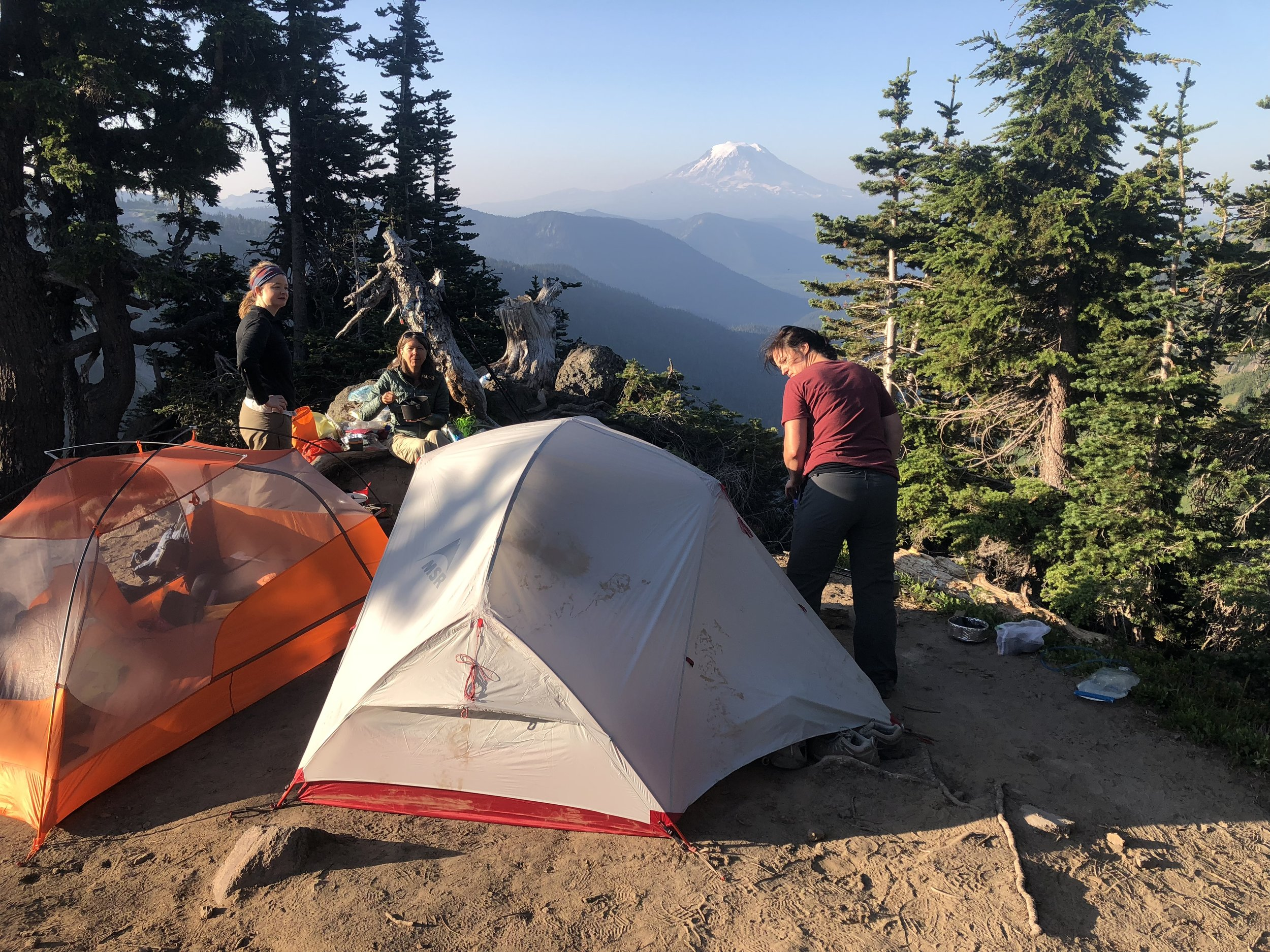 Stunning campsite a thousand feet above the valley and overlooking Mount Adams