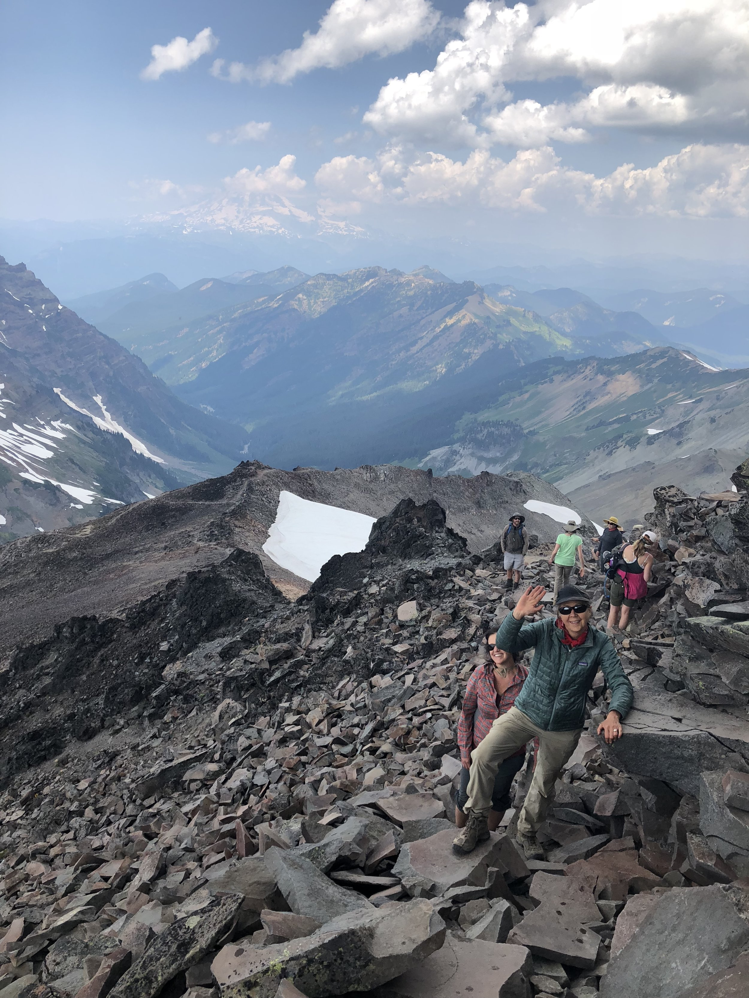 The scramble up Old Snowy Mountain. Mount Rainier in the background!