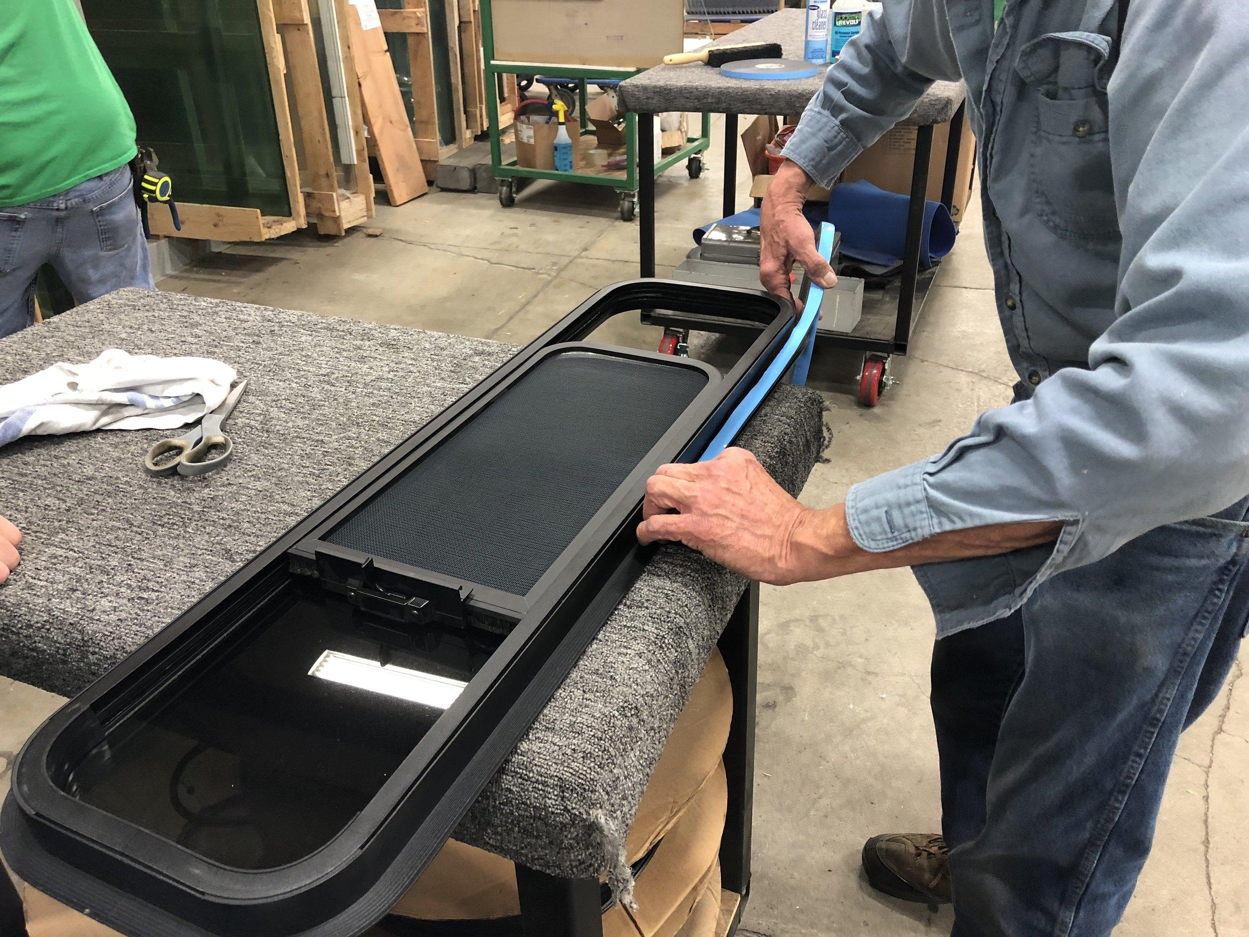 Applying the sealing foam tape