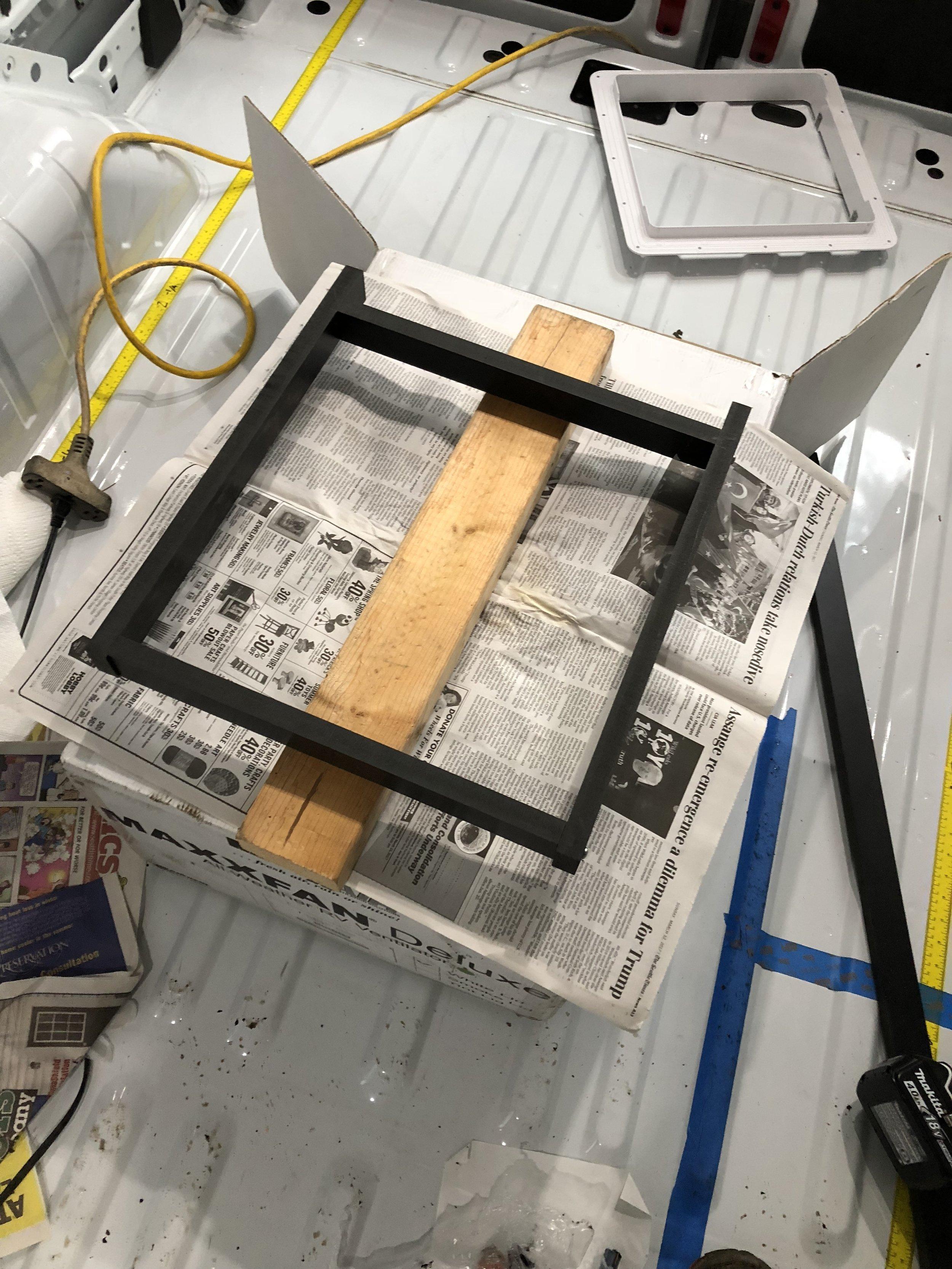 Interior frame around vent ready for gluing