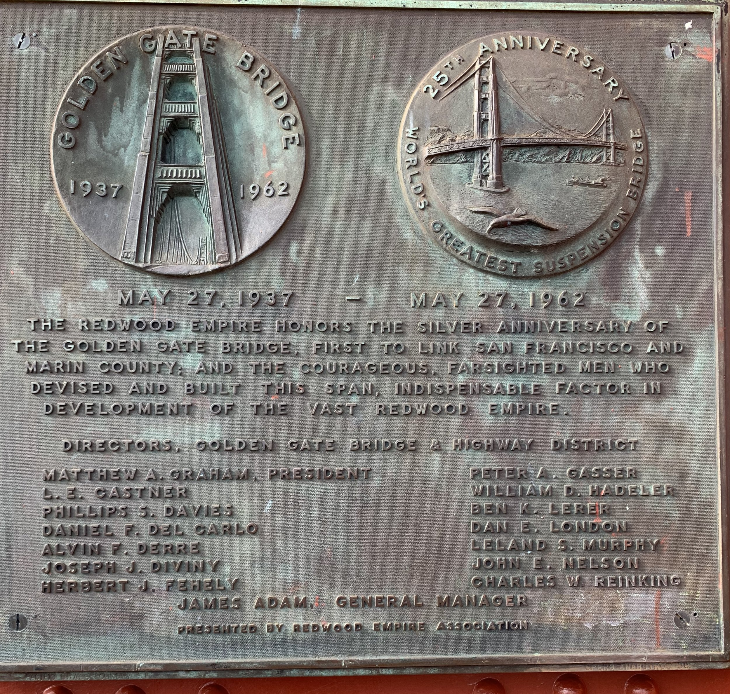 A commemorative plaque that sits at the center of the bridge.