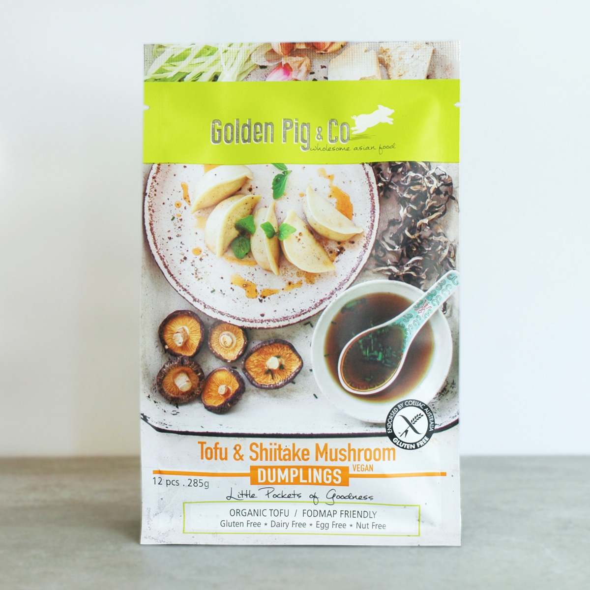 TOFU & SHIITAKE MUSHROOM - FODMAP friendly, these vegan parcels of goodness marry organic tofu and cloud ear fungus with the sweetness of corn.Allergen Advice: contains soy from organic tofu and gluten free soy sauce.Gluten-Free, Wheat-Free, Dairy-Free, Egg-Free, Nut-Free, Sugar-Free, Yeast-Free, MSG-free, Preservatives-Free and GMO-Free.