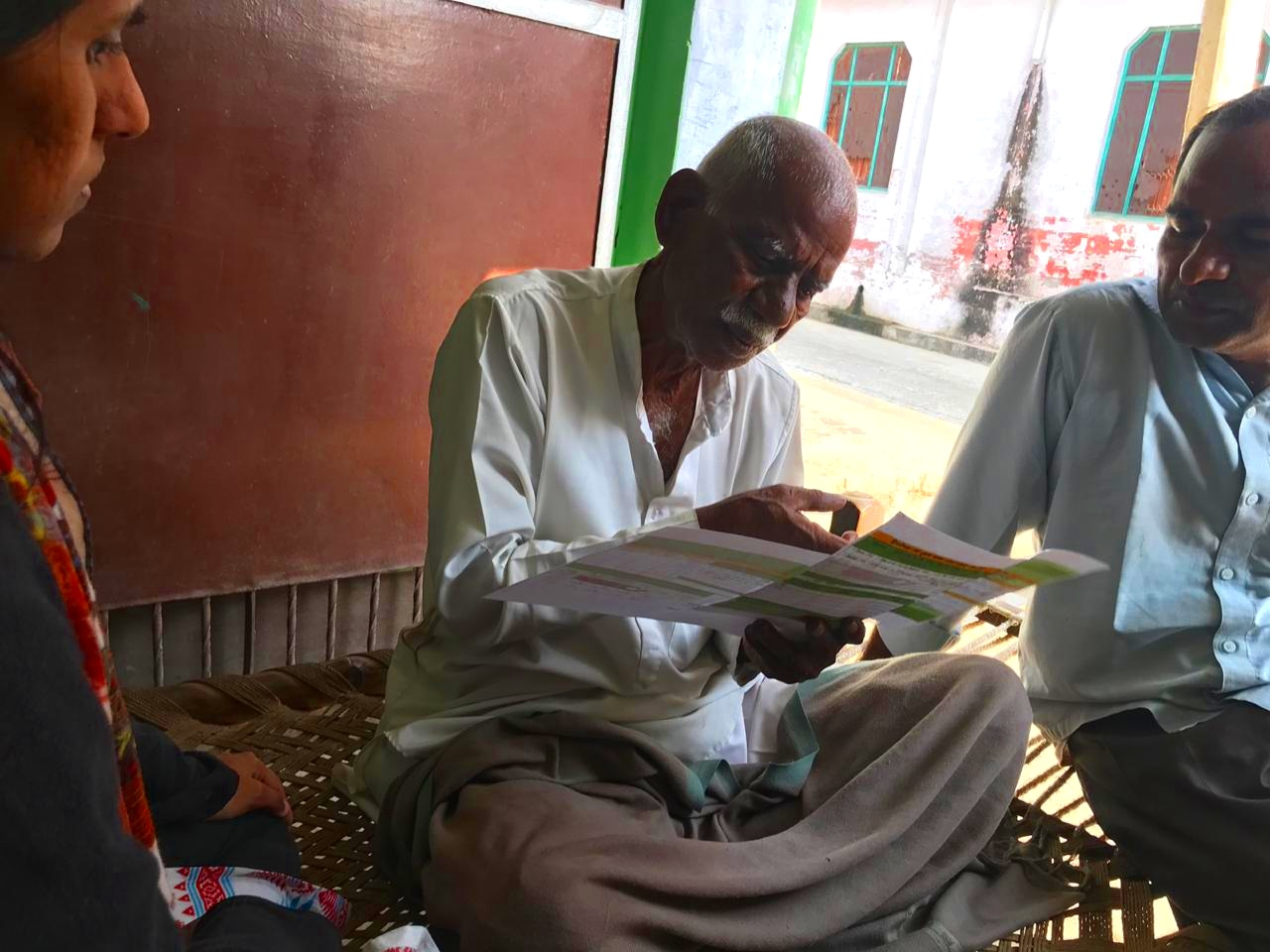 A farmer in Meerut, India tests different iterations of the Soil Health Card.