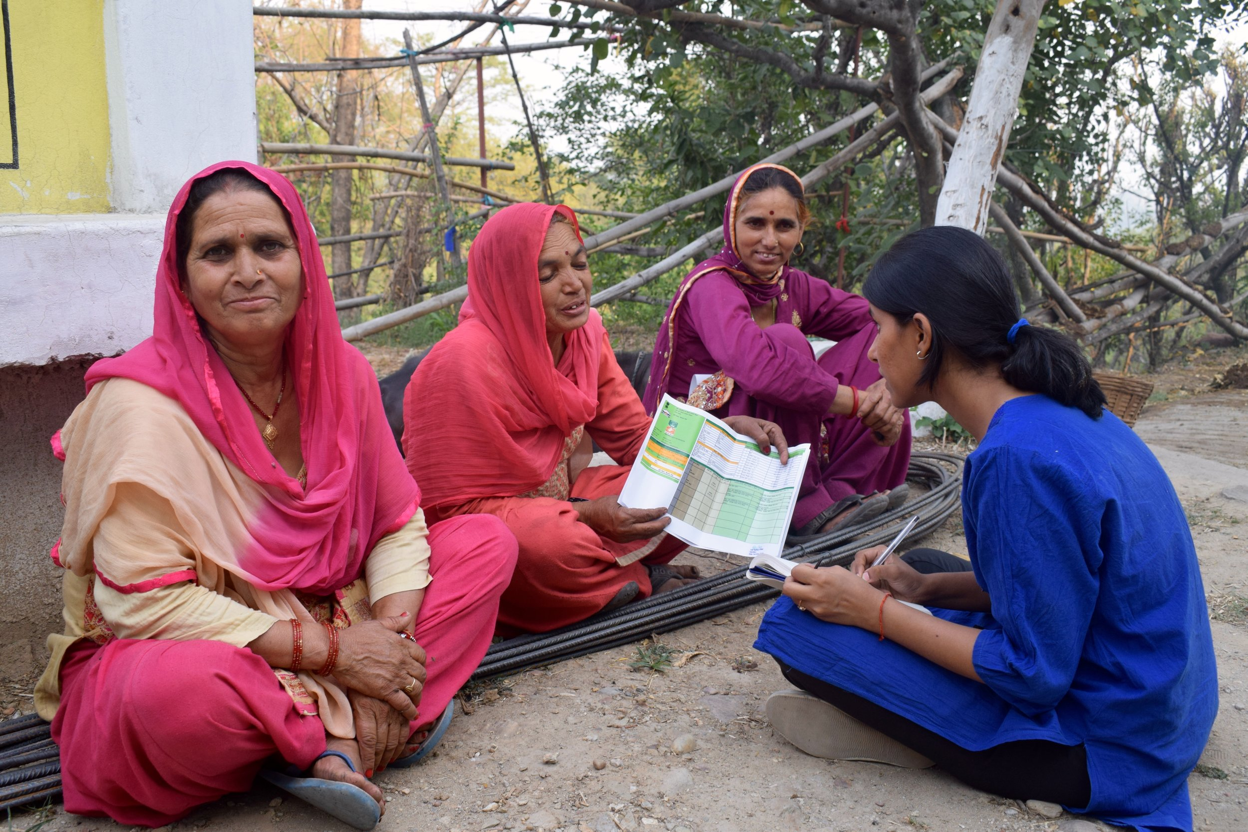 Female farmers share their views on India's Soil Health Card Scheme with IDinsight Manager Rupika Singh as a part of data collection for NITI Aayog's Aspirational Districts program.